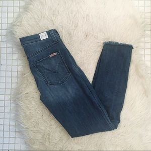 Hudson Jeans Midrise Colette Skinny Distressed Hem